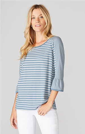 Shop our mixed-stripes flounced-sleeve knit top