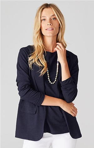 Shop our adrienne linen & rayon knit blazer