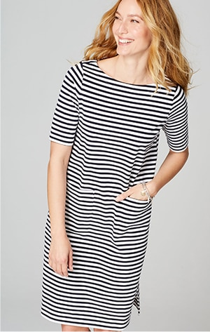 Shop our boat-neck T-shirt dress