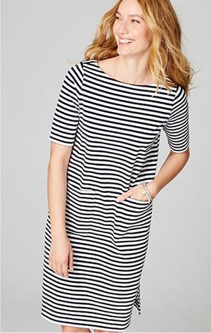 Shop our boat-neck T-shirt dress