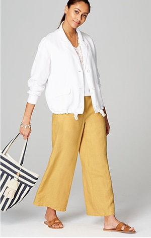 Shop our linen full-leg pants