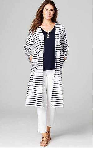 Shop our long ribbed-knit cardi