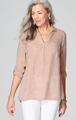 Shop our linen tab-sleeve pullover shirt