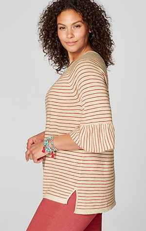 Shop our flounced-sleeve relaxed sweater