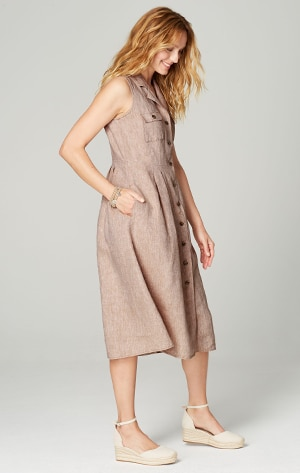 Shop our linen pleated shirtdress