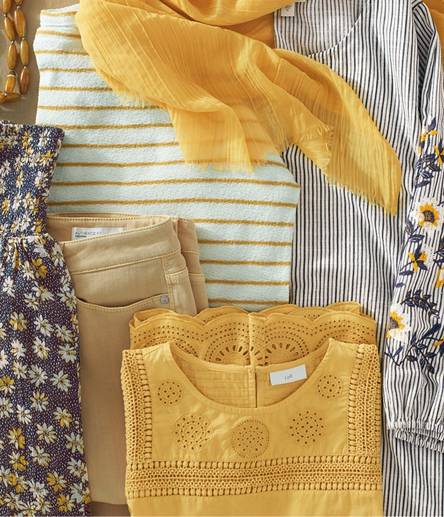 Shop our shades of yellow & blue