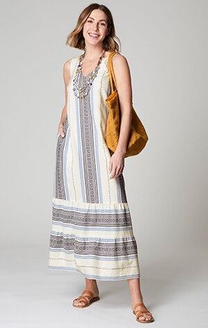 Shop our jacquard-woven maxi tank dress