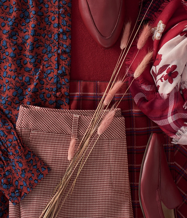 Shop our shades of reds, wines and pinks