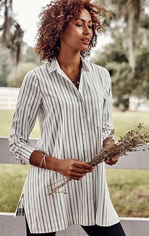 Shop our cotton-stretch A-line tunic