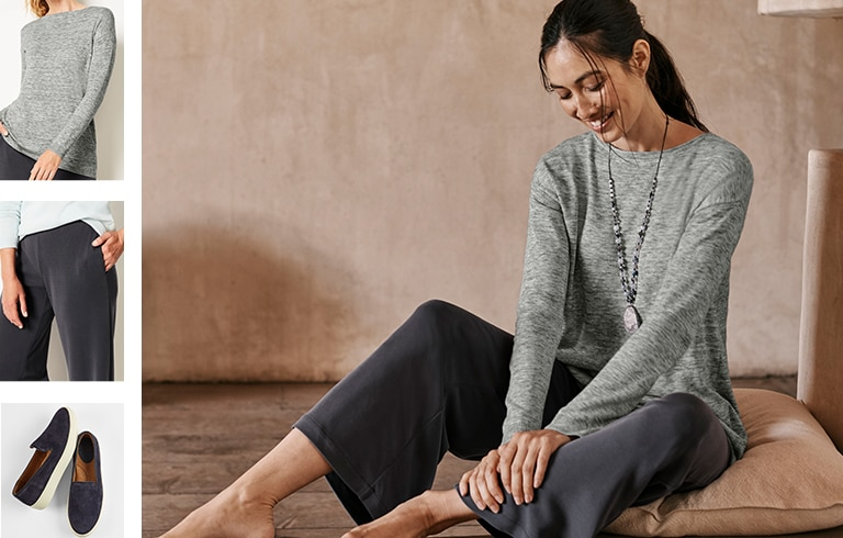 Shop this look—Pure Jill relaxed boat-neck sweater, Pure Jill sand-washed full-leg pants, Sofft® Somers slip-on sneakers