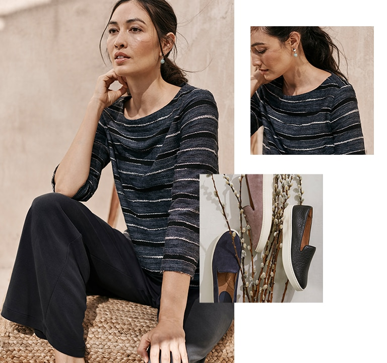 Shop this look—Pure Jill textured-stripe top, Pure Jill sand-washed full-leg pants, Sofft® Somers slip-on sneakers