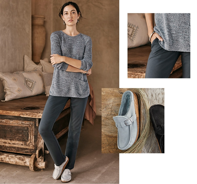 Shop this look—Pure Jill textured one-pocket sweater, Pure Jill Affinity slim-leg pants, Birkenstock® Buckley shearling clogs