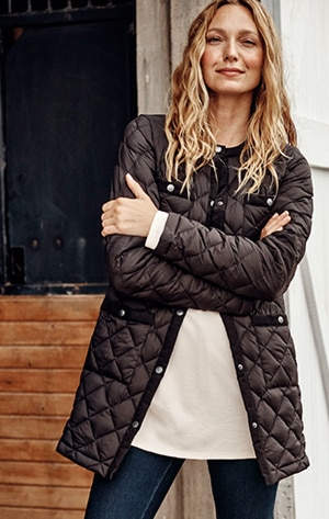 Shop our cord-trimmed down puffer