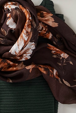 Shop our autumnal roses square scarf