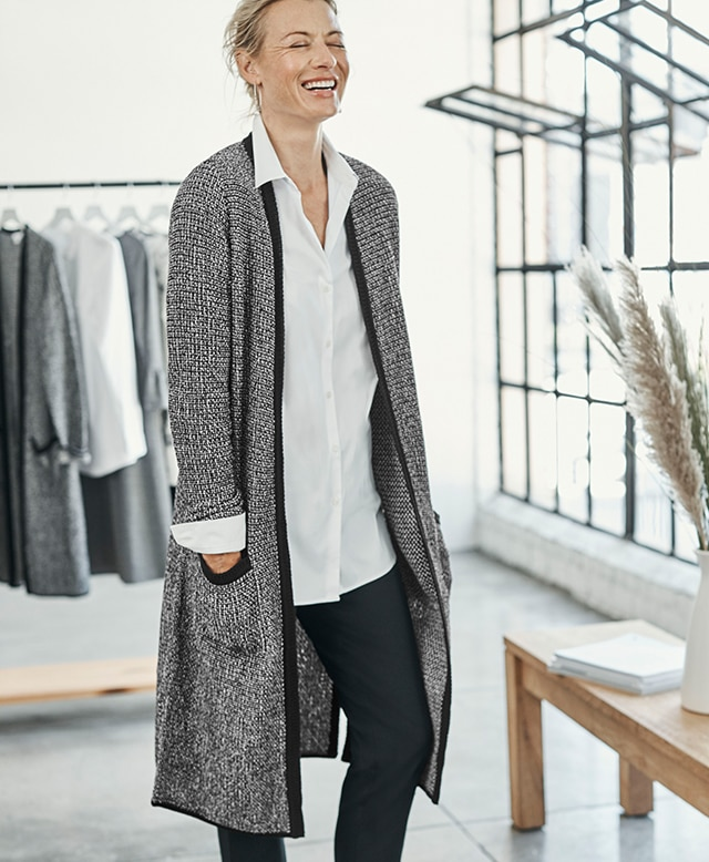 Shop our Wearever Long Textured Tweed Cardi