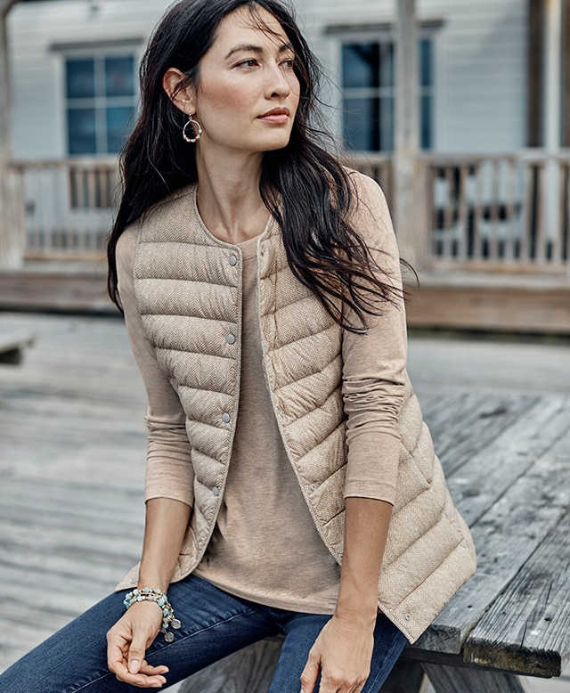 Shop our Herringbone Lightweight Down Vest