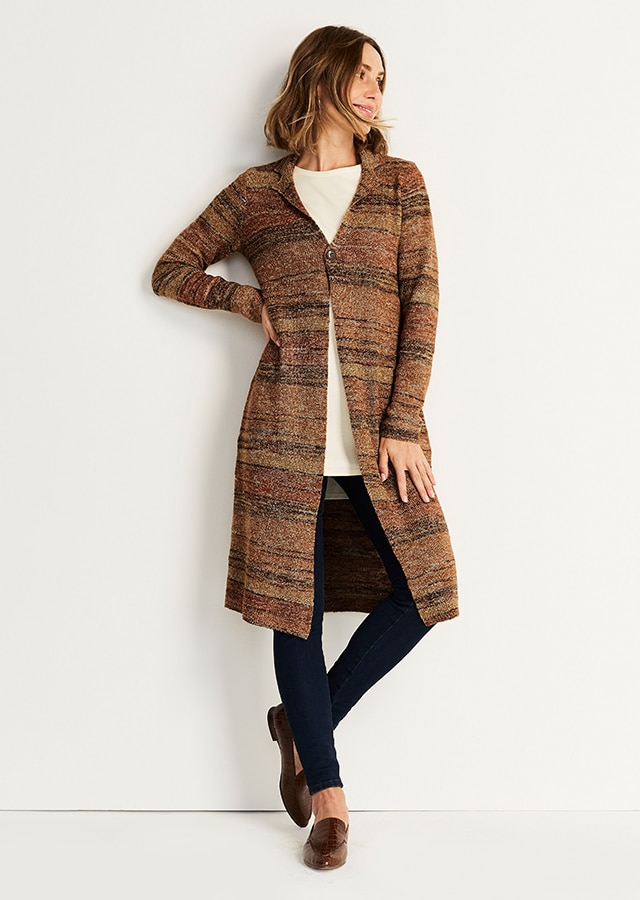 Shop our Textured Notched-Collar Long Cardi