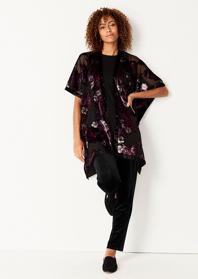 Shop our Spirited Floral Velvet-Burnout Ruana