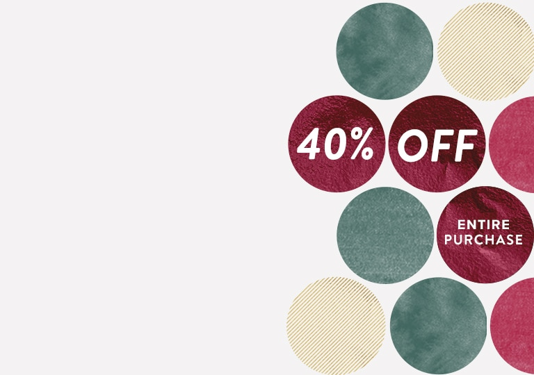 Shop now and enjoy 40% off your entire purchase