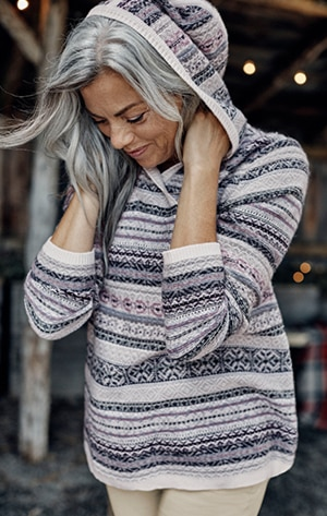 Shop our Fair Isle stripes hooded sweater