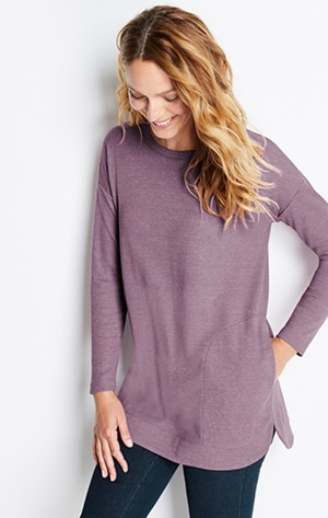Shop our waffle-knit crew-neck shirttail tunic
