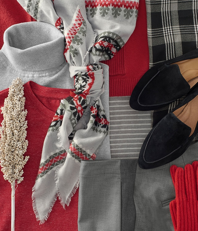 Shop our festive shades of true red and grey
