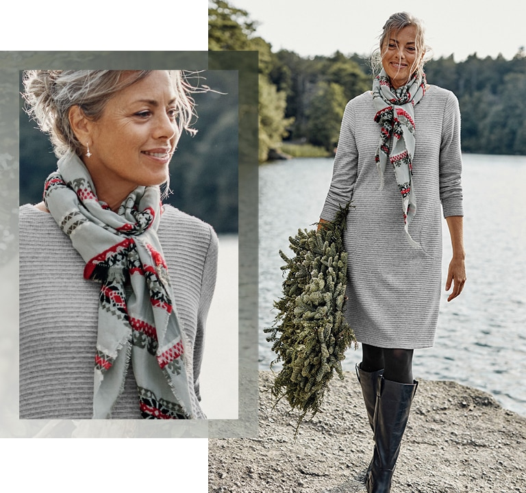 Shop this look—ottoman-knit A-line dress, embroidered Fair Isle scarf, solid microfiber tights, Sofft® Samantha tall boots