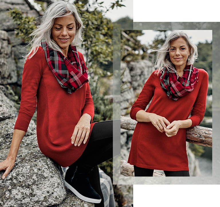 Elise A-line sweater tunic, smoothing-ponte leggings, holiday plaid infinity scarf, Blondo® waterproof Glade sneakers