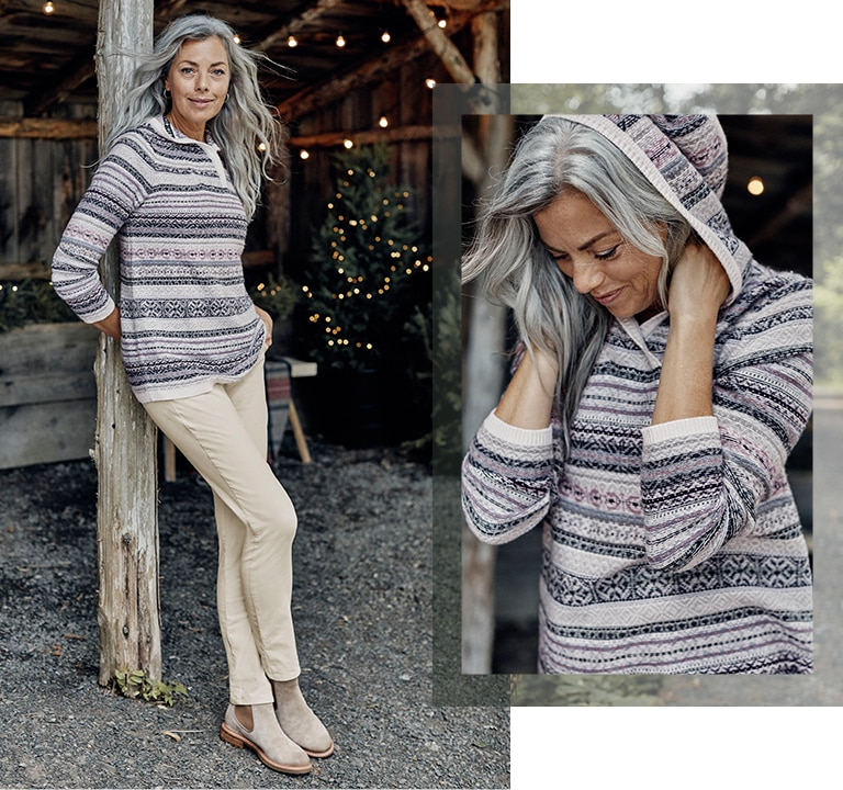 Shop this look—Fair Isle stripes hooded sweater, Taylor luxe cord pants, sterling silver hoops, Sofft®  Leah boots