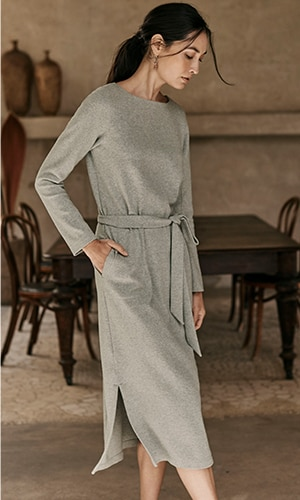 Shop our Pure Jill soft-brushed belted dress