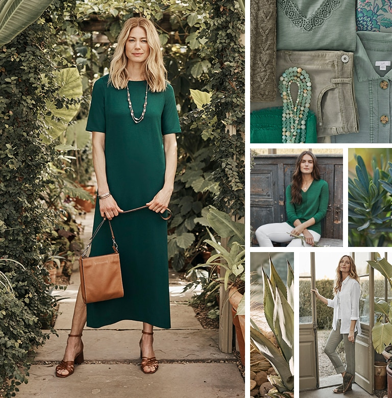 Variety of green shades featured in the clothing from the Spring 2021 collection