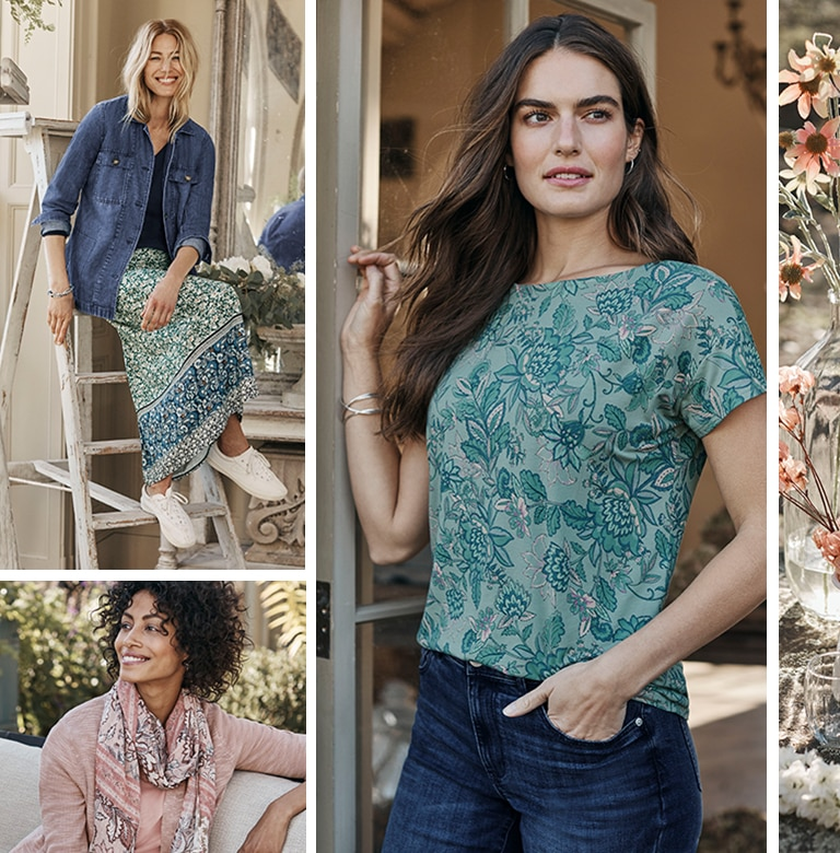 Floral fabrics used for Spring 2021 styles including a skirt, tee and scarf
