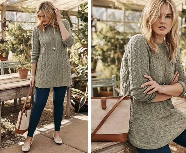 Shop our Cable Stitched Sweater Tunic