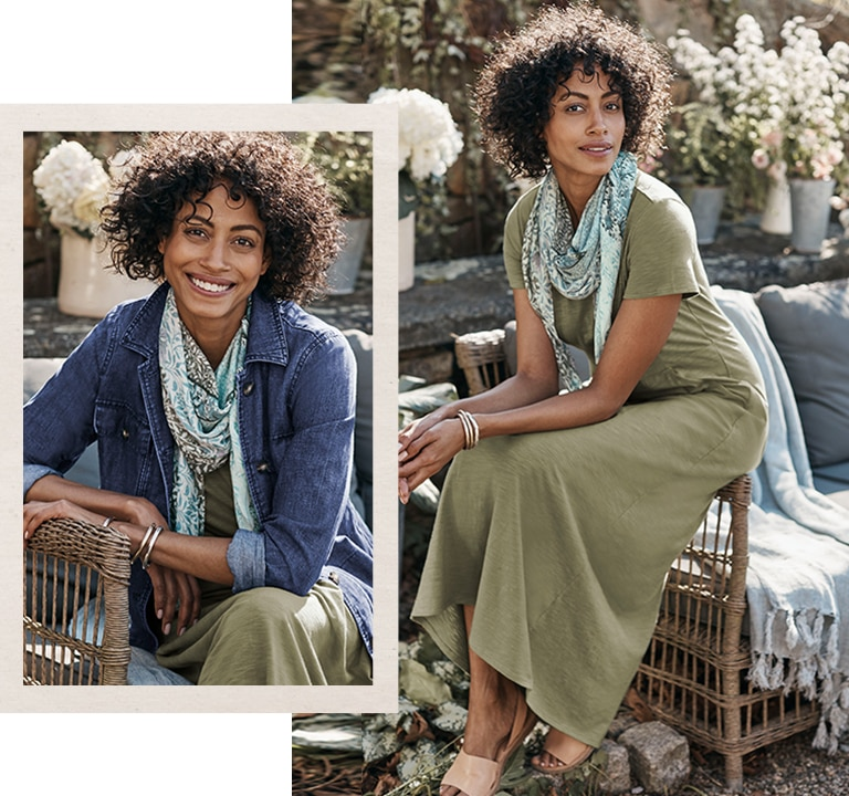 Shop our patch-pocket jacket, seamed knit maxi dress and patchwork-print square scarf