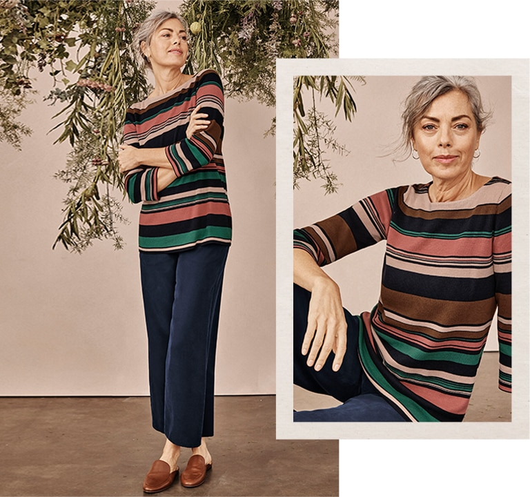 Shop our cotton & rayon striped sweater, sandwashed-soft full-leg pants and Lana loafer mules