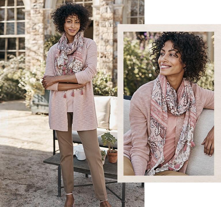 Shop our trellis ribbed cardi, precision-stretch slim-leg pants and artistic vines tasseled scarf