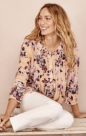Shop our Pintucked Bell-Sleeve Top
