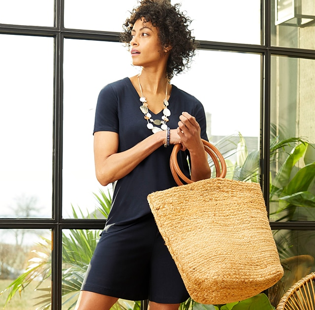 Shop our Jute Leather-Handle Market Tote
