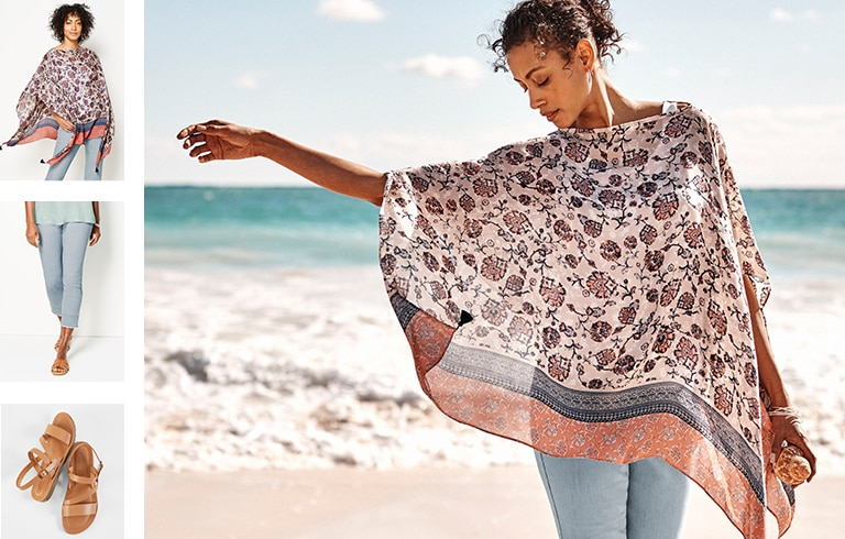 Shop our soft floral-print poncho, Authentic Fit fringed-hem cropped jeans and Seychelles effortless sandals