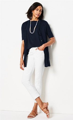 Shop this look—Luxe Supima® short-sleeve tee, linen & rayon elbow-sleeve cardi, Authentic Fit fringed-hem cropped jeans, Kinsley triple-band sandals