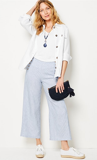 Shop this look—patch-pocket jacket, pima V-neck tank, linen full-leg sailor crops and Cora espadrille sneakers