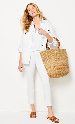 Shop this look—patch-pocket jacket, pima V-neck tank, Authentic Fit fringed-hem cropped jeans and UGG® Teague sandals