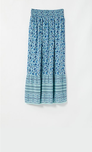 Smocked-Waist Printed Maxi Skirt