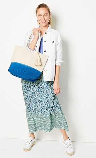 Shop this look—patch-pocket jacket, arbor V-neck sweater, smocked-waist printed maxi skirt and Cora espadrille sneakers