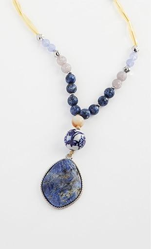 Shop our porcelain blue semiprecious pendant