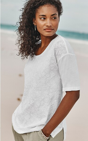 Shop our Pure Jill embroidered elbow-sleeve top