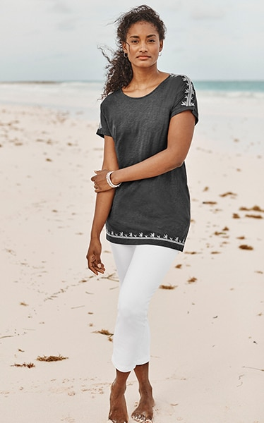 Shop our Pure Jill embroidered dolman tunic