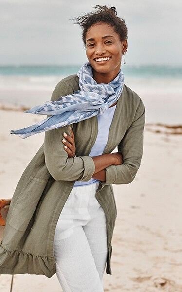 Shop our Pure Jill garment-dyed linen ruffled-hem jacket