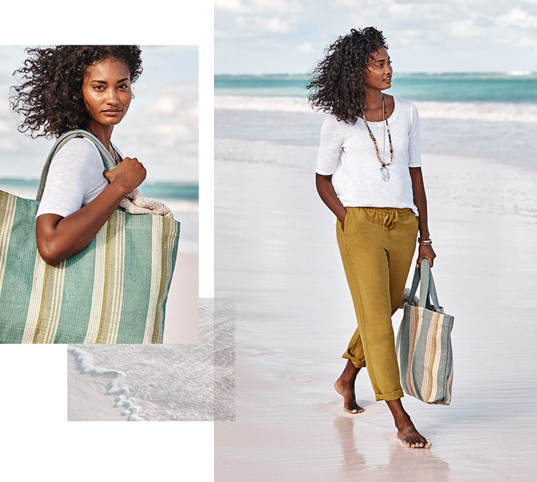 Shop our pima scoop-neck elbow-sleeve tee, beachcomber tie-waist pants, woven-stripes beach bag and shades of nature palm leaf pendant