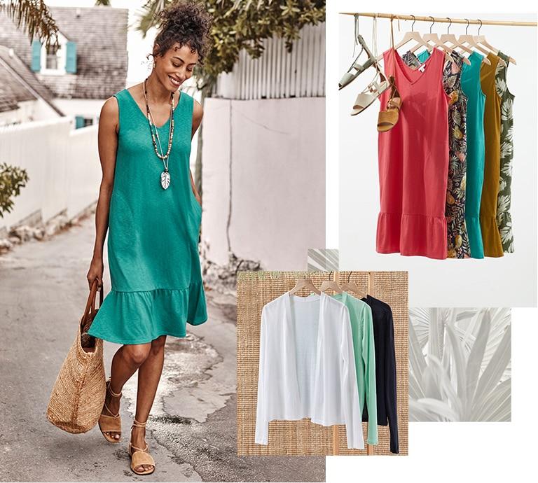 Shop our flounced-hem double V-neck knit tank dress, light open-front cardi, shades of nature palm leaf pendant and Evonne sandals